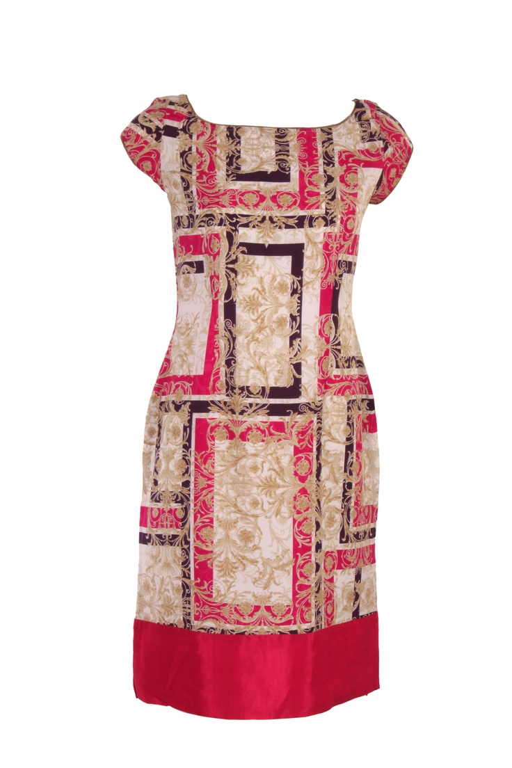Off White Printed Kurta In Poly Crepe; Deep U Neck; Short Sleeve; 40 Inches In Length #Wishful #Clothing #Fashion #Style #Kurta #Wear #Colors #Apparel #Semiformal #Print #Casuals #W for #Woman