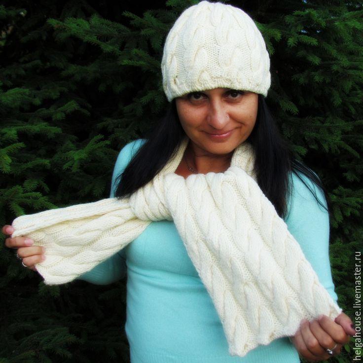 Купить Шапка и шарф вязаные женские( кремовые) - кремовый цвет, шапка, шапка вязаная