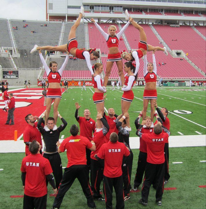 University of Utah Cheerleaders, Football 2010 | Ute Girls  CHEER collegiate Utes college cheerleading from Cheerleading: Utah Schools: BYU, Utah, UVU, Weber, USU (Aggies, Utes, Cougars) board http://www.pinterest.com/kythoni/cheerleading-utah-schools-byu-utah-uvu-weber-usu-a/  m.61.5 #KyFun