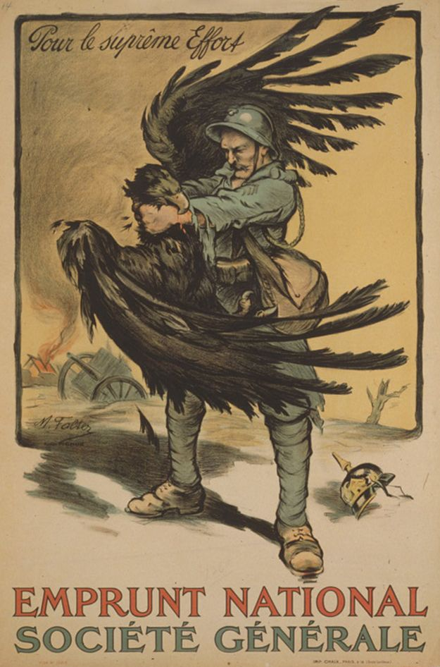 French poster: French soldier strangling German eagle. Marcel Falter, 1918. WWI propaganda exhibit opens at the First Division Museum at Cantigny on May 17, 2014.