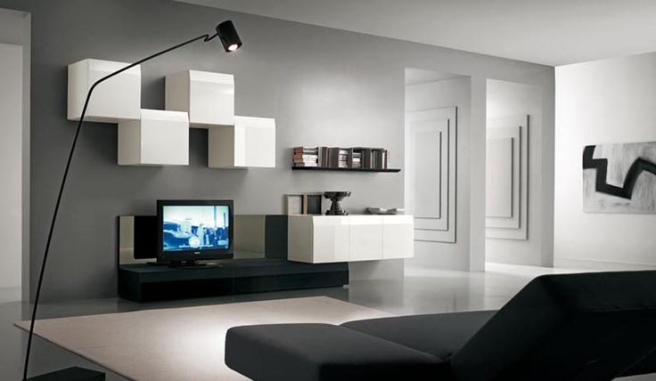 Modern TV Wall Units for Living Room Designs - Image 10 : White and White Modern TV Wall Mount