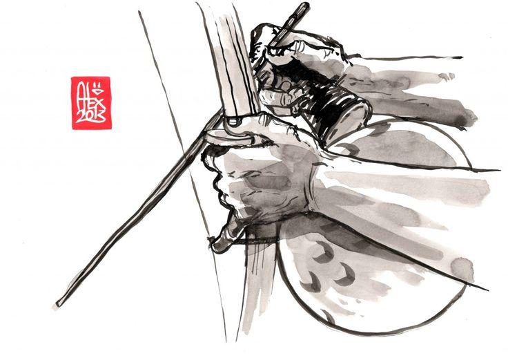 "Encres : Capoeira – 482 ""Berimbau"" [ #capoeira #watercolor #illustration]"