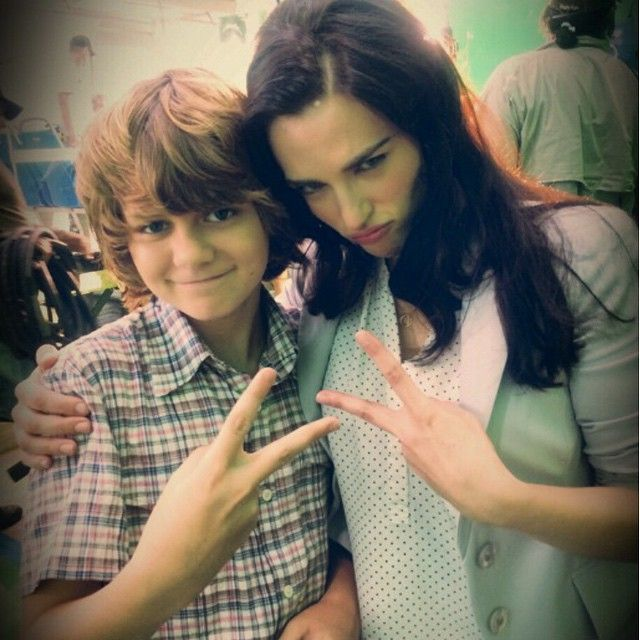 jurassiraptor:Ty Simpkins and Katie McGrath on the set of Jurassic World. Posted by Ty on his Instagram.