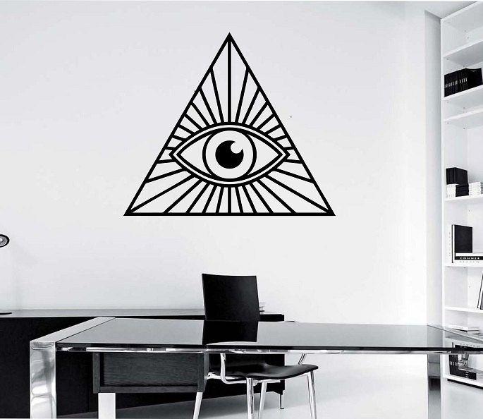 Illuminati Pyramid Eye Geometry Vinyl Wall Decal Sticker Art Decor Bedroom Design Mural interior design geometric real eys oom decor