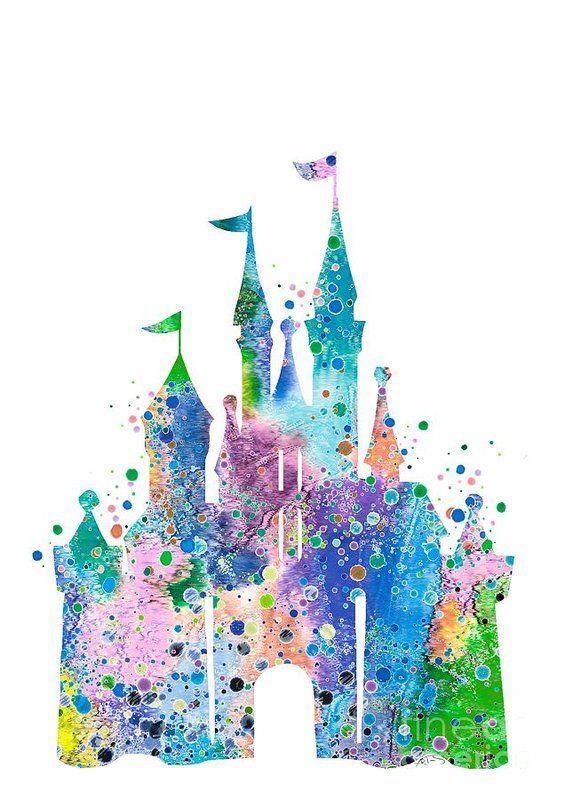 Disney Castle 2 Watercolor Print Art Print by White Lotus