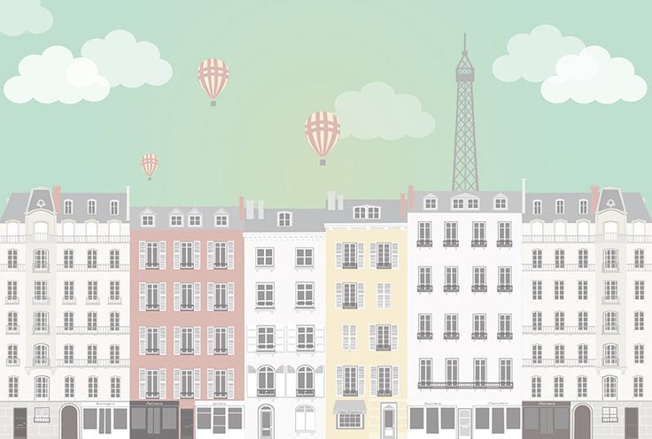 Stad Parijs posterbehang kinderkamer meisjeskamer babykamer tienerkamer