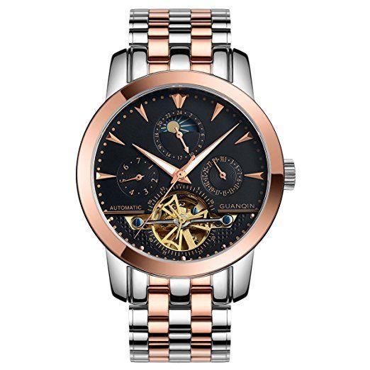 GUANQIN hombres analógico deporte popular marca automático Self-winding mecánico negocio de acero inoxidable reloj de pulsera esqueleto FECHA fase de la luna luminosa resistente al agua oro rosa negro