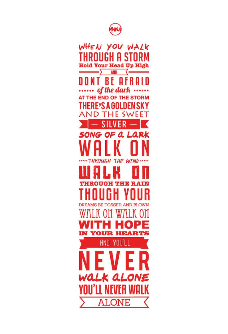 YNWA Lyrics Liverpool FC Print White by KieranCarrollDesign