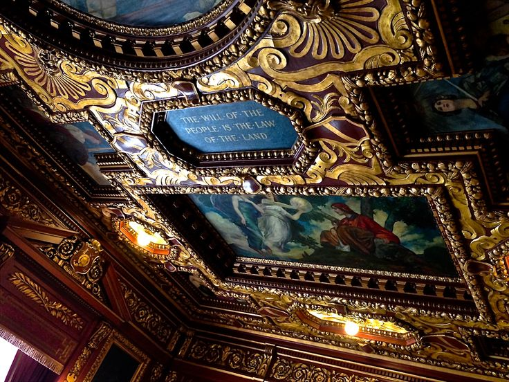 This is the ornate ceiling in the Governor's Conference Room in the State Capitol building in Madison.  This room is used for many different purposes, including press conferences, cabinet meetings, and bill signings.