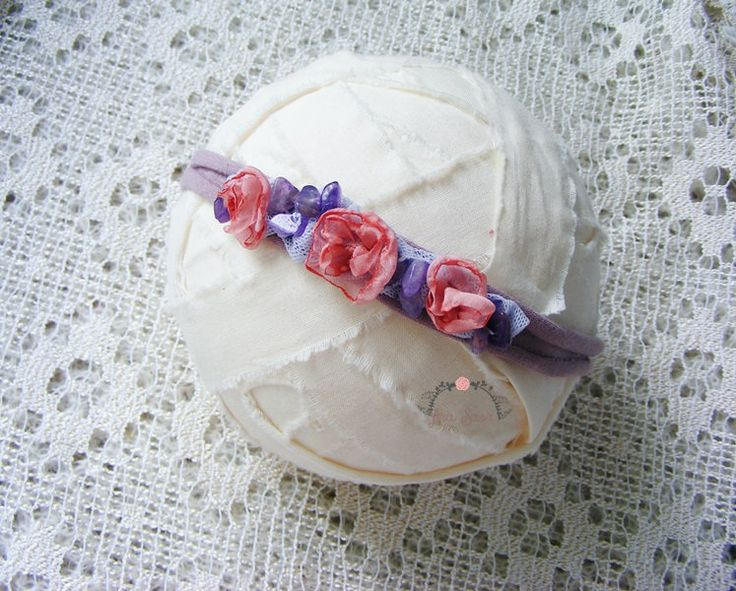 Delicate newborn headband, Photography props, Newborn tieback, Newborn photo prop headband, Baby halo by AraSASA on Etsy
