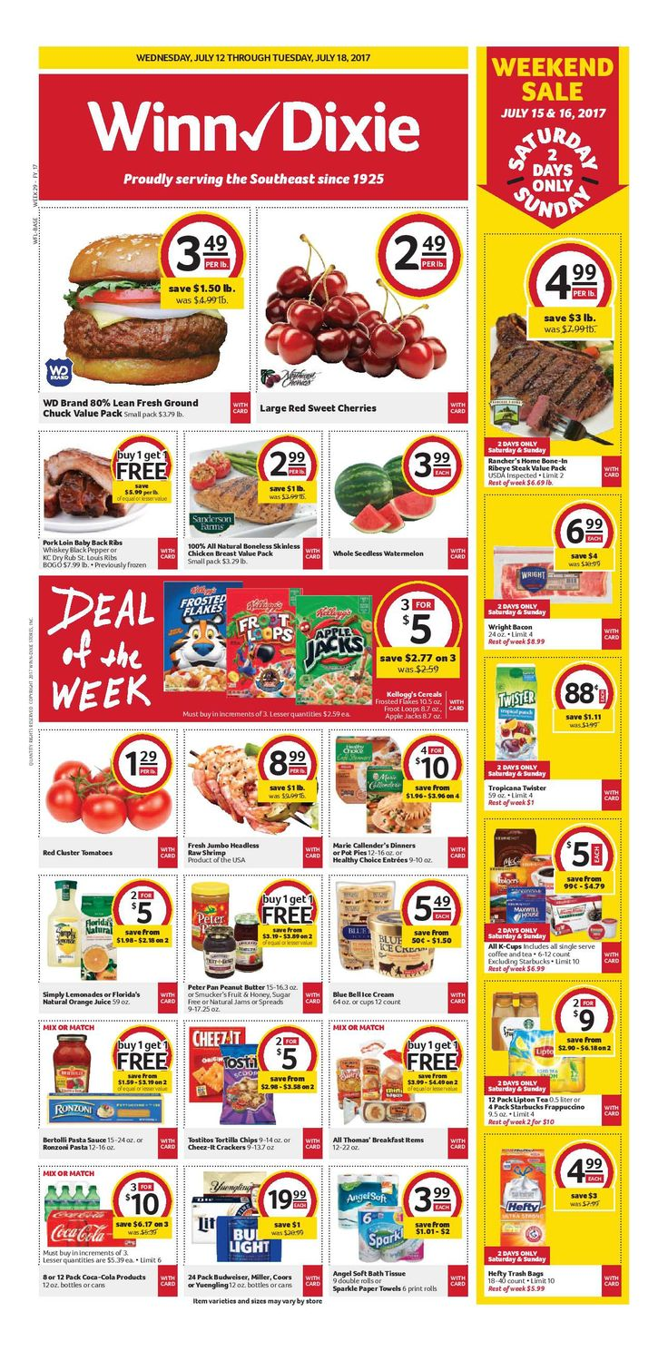 Winn Dixie Weekly Ad July 12 - 18, 2017 - http://www.olcatalog.com/grocery/winn-dixie-weekly-ad.html