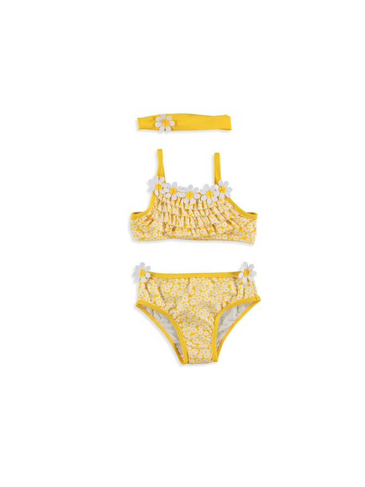 Sarı Çiçek-Fırfır Detaylı Bikini ve Saç Bandı, Urun kodu: 7Y2760Z1-684,Ana Kumaş Bikini:%80 Poliamid %20 Elastan,Ana Kumaş Bandana:%80 Poliamid %20 Elastan,Astar Bikini:%100 Polyester,