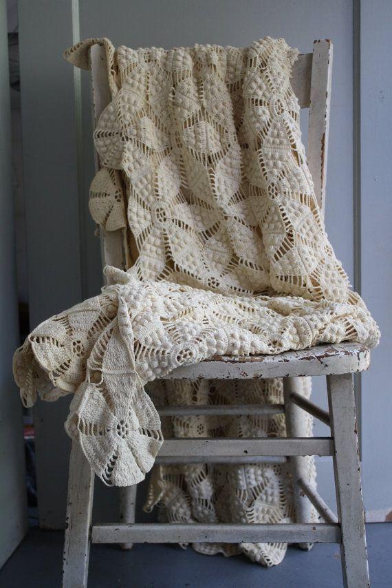 antique crochet coverlet by littlebyrdvintage on Etsy