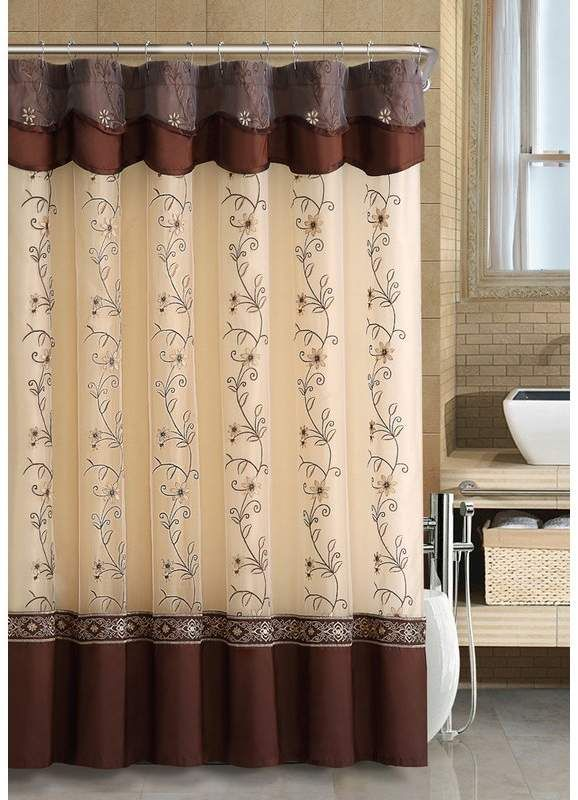 Searcy Floral Embroidered Semi Sheer Single Shower Curtain Fabric Shower Curtains