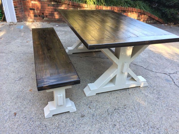 """Best Farm Table for sale - Two toned Farm Table; 42"""" wide x 72"""" long with matching bench!  We custom build each piece!  Let us build a table for you!"""