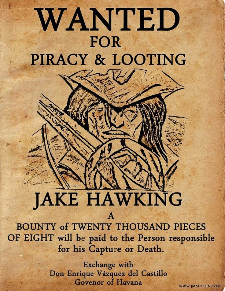 Jm aucoin jake hawking wanted 742 960 for Wanted pirate poster template
