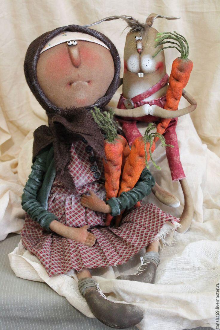 Купить Баба Клава кроликовод! - комбинированный, текстильная кукла, ароматизированная кукла, интерьерная кукла, бабушка