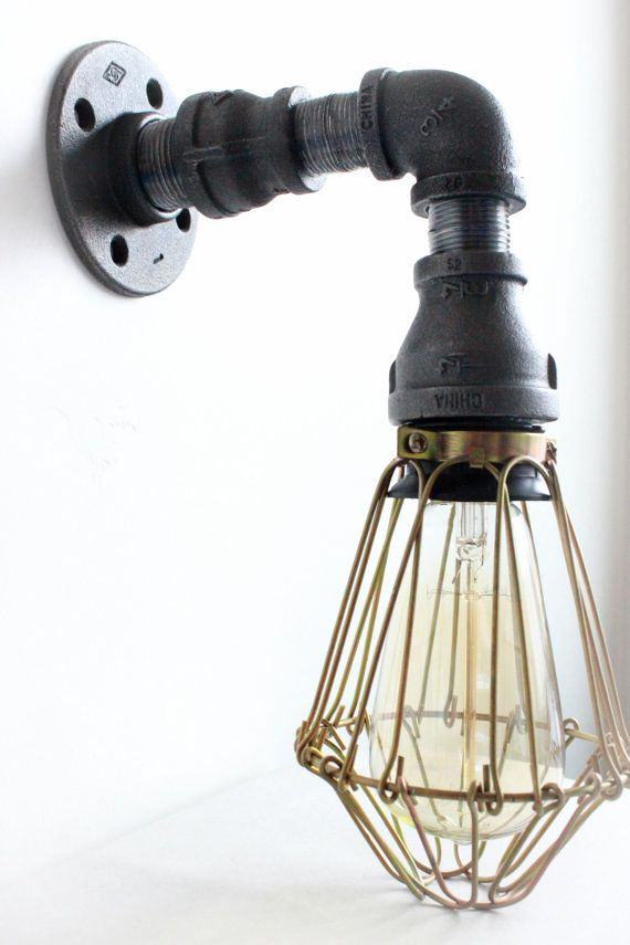 Best Photo Gallery Websites Industrial Lighting Wall Sconce w Brass Cages Steampunk Bathroom vanity light Bronze light fixture Loft art pipe Furniture Edison