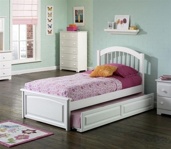 Windsor White Solid Wood Twin Bed W Raised Panel Footboard