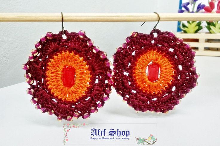 SUPER SALE /Brown and Orange Crochet Earrings /Bead crochet earrings /Boho…