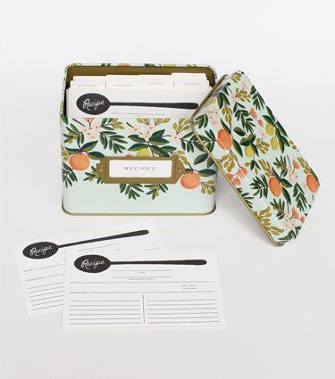 Rifle Paper Co. Citrus Floral Tin Recipe Box at Pigment #riflepaperco #shoppigment