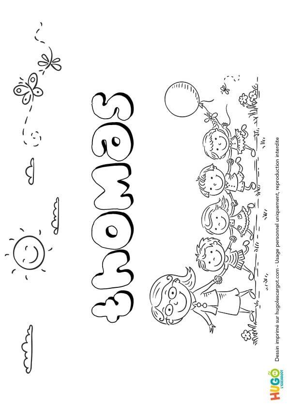 Coloriage Et Illustration Du Prénom Thomas Le Prénom Est
