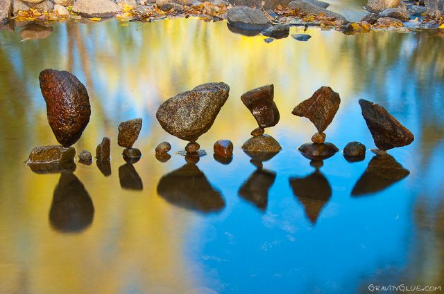 Land artist Michael Grab creates astonishing towers and orbs of balanced rocks using little more than patience and an astonishing sense of balance. Grab says the art of stone balancing has been practiced by various cultures around the world for centuries and that he personally finds the process of balancing to be therapeutic and meditative.