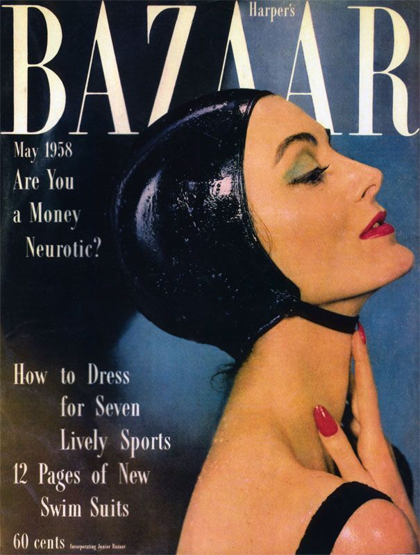 Carmen Dell'Orefice in a bathing cap, photographed by Gleb Derujinsky for Harper's Bazaar, May 1958