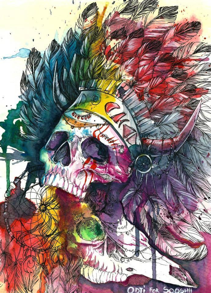 Skull Watercolor Illustrations by Odji - Skullspiration.com - skull designs, art, fashion and more
