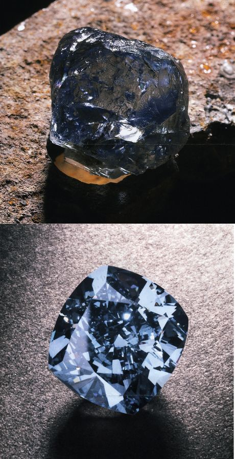 Blue diamond before and after cutting. Few people realise that gem cutting is relatively new. Good faceting is less than 200 years old. Before that, most gems were cabochons or shown in their natural rough crystal shape.