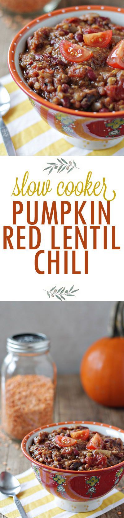 This thick, hearty, and vegan Crock Pot Pumpkin Red Lentil Chili recipe is just different enough to be special, but still tastes mainstream enough to appeal to most everyone. It's the perfect fall chili!