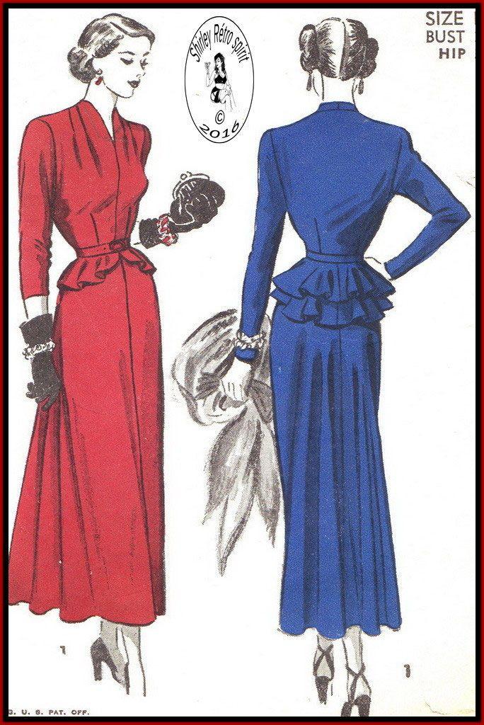 Advance 4988-1948  Vintage Sewing Patterns  Advance 1940s Dresses Evening Funnel Neck Slit Neckline Dart tucks Belts Detachable Peplum Peplum Flounce Layered Pleats Long Sleeves Three-quarter Sleeves Short Sleeves Gored Skirts