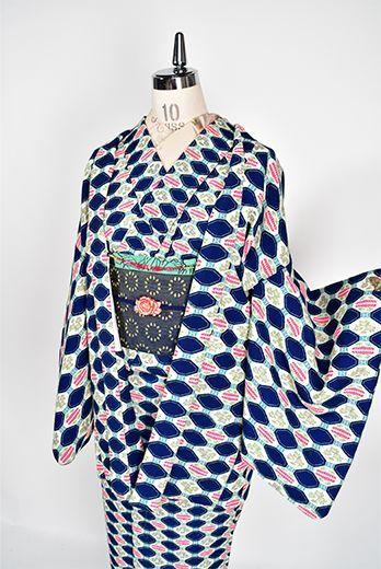 オリエンタルブルータイルのような装飾模様美しいウールアンサンブル - アンティーク着物・リサイクル着物のオンラインショップ 姉妹屋