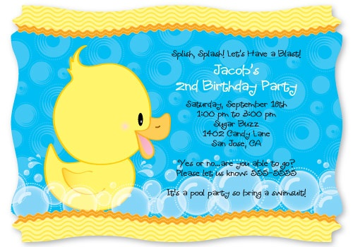 Ducky Duck - Personalized Party Invitations  1st Birthday Party invitations; First Birthday Party supplies #BabyShower #BirthdayParty