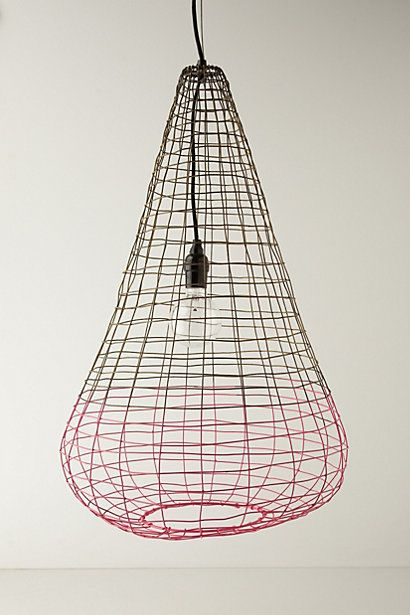 Woven Basket Lamp Shade : Small woven wire pendant lamp anthropologie brilliant