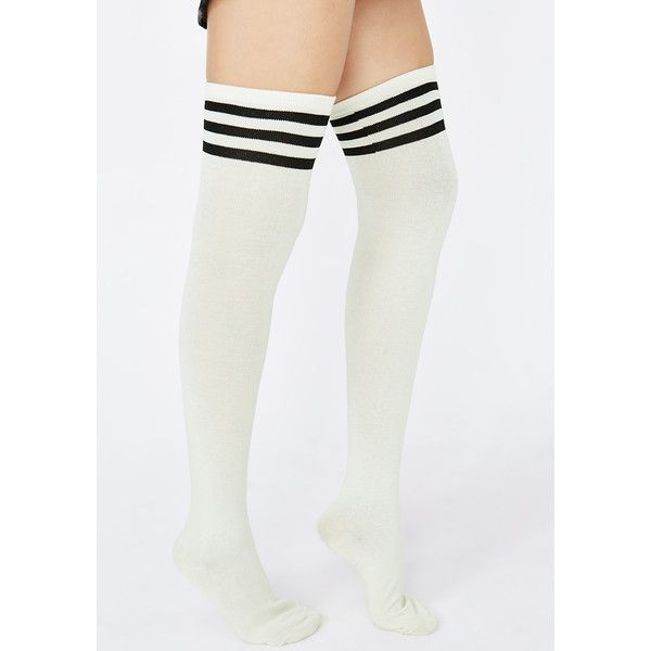 Thigh High Tube Socks ($8) ❤ liked on Polyvore featuring intimates, hosiery, socks, white thigh-high socks, stripe socks, ana accessories, thigh high hosiery and stripe tube socks