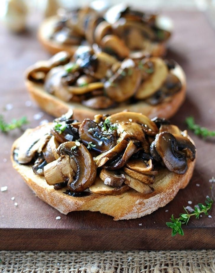 Mushroom bruschetta with balsamic and thyme. Learn how to make this delicious spin on bruschetta here.