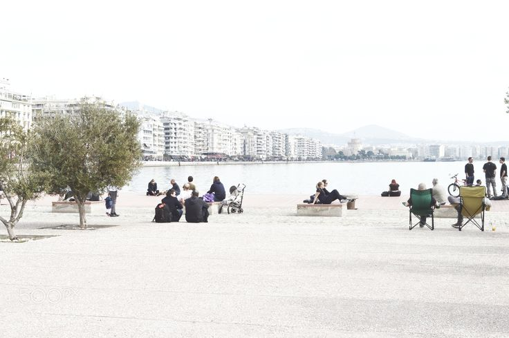 Camping Chairs On The Waterfront CSC - Waterfront scene on the waterfront of Thessaloniki. Greece. #photography #500px #artbyjwp #streetphotgraphy #greece #photo #thessaloniki