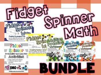 This bundle includes practicing addition within 20, subtraction within 20, fast facts, finding equivalent fractions, creating number sentences, probability, and line plot activities! What's Included: Fidget Spinner