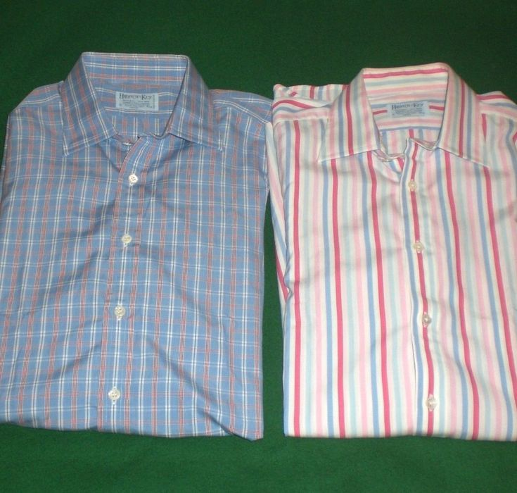 Hilditch Key Shirt Lot Blue Check Red Pink Striped French
