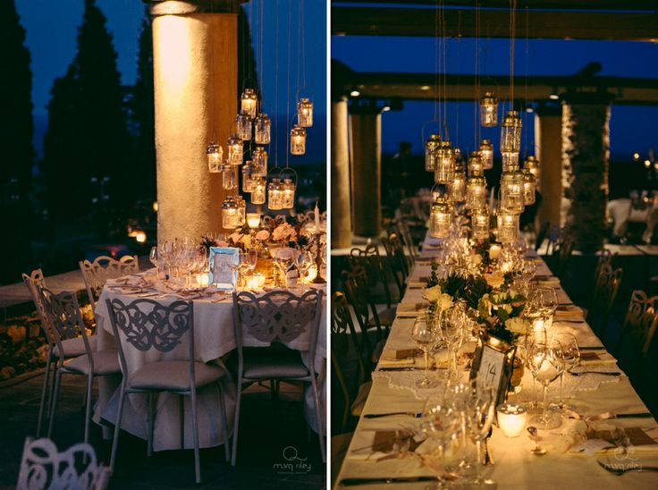 Lanterns over the tables...a very chic and elegant idea!