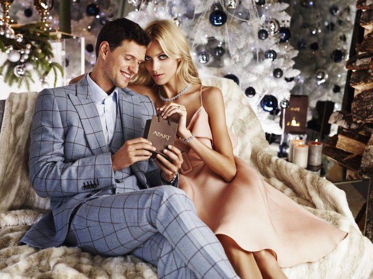 Anja Rubik i Sasha Knezevic w świątecznej kampanii Apart 2014, fot. Marcin Tyszka