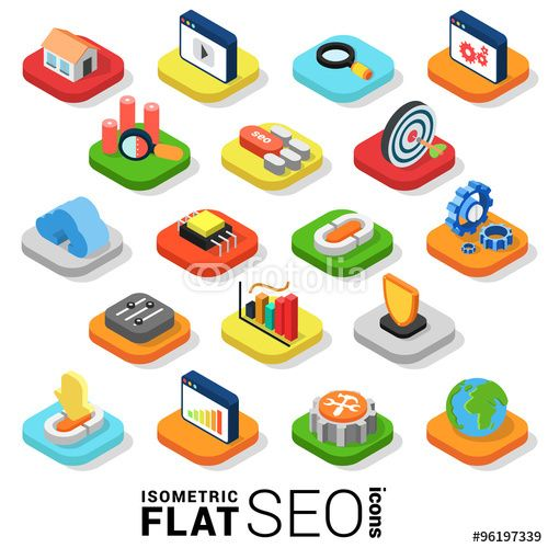 Vector: Flat 3d isometric vector SEO search engine optimization icon