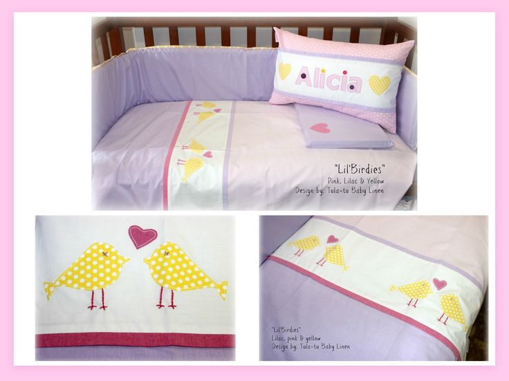 Lil'Birdies baby linen in lilac, pink & yellow. Designed by Tula-tu Baby Linen Can be customised. #babylinen #babybedding #cotlinen #nurserylinen
