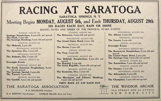 1907 Saratoga Horse Racing Schedule Ad