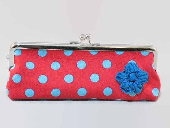 Frame Pencil CaseRed x Aqua Polka Dots and by KnKCraftsAndDesigns, $18.90