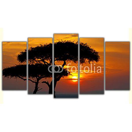 Poliptyk obraz na płótnie - Afrykański zachód słońca - piękna ozdoba do pokoju w oryginalnej formie #fedkolor #obraznapłótnie #poliptyk #obrazzezdjęcia #twojezdjęcie #pomysł #inspiracja #Afryka #drzewa #zachódsłońca #widoki #krajobraz #pejzaż #dekoracje #ozdoby #dosalonu #dobiura #dodomu