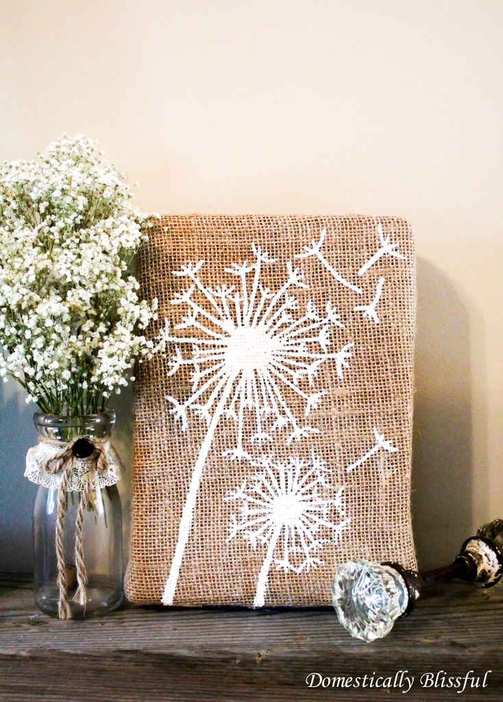 Britt: in case you need a b-day idea for me, this is it!!  DIY: dandelion burlap art
