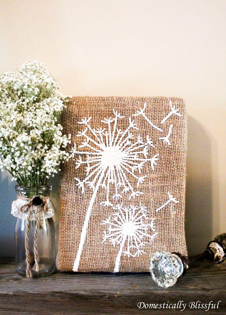 DIY: dandelion burlap art