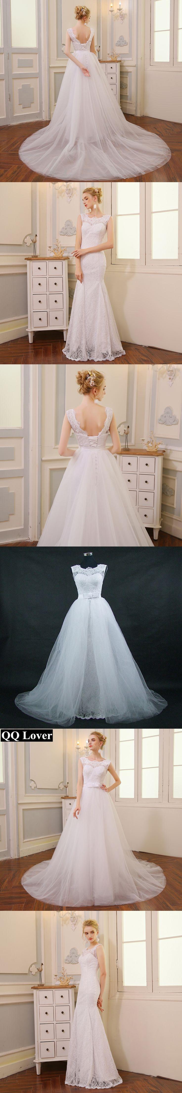 QQ Lover 2018 2 in 1 High Quality Mermaid Wedding Dress With Tulle Detachable Train Cheap Vestido De Novia Wedding Gown